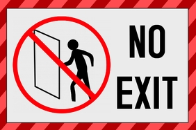 label - no exit sign - not an exit door
