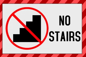 no stairs sign - label template