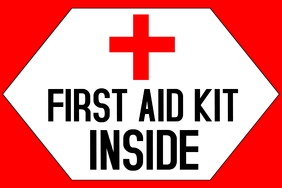 label with the text - First AID Kit INSIDE an