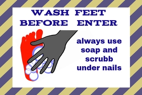 label with wash feet with soap sign