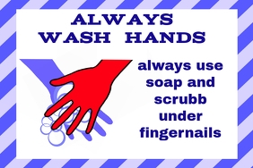 label with wash hands with soap sign