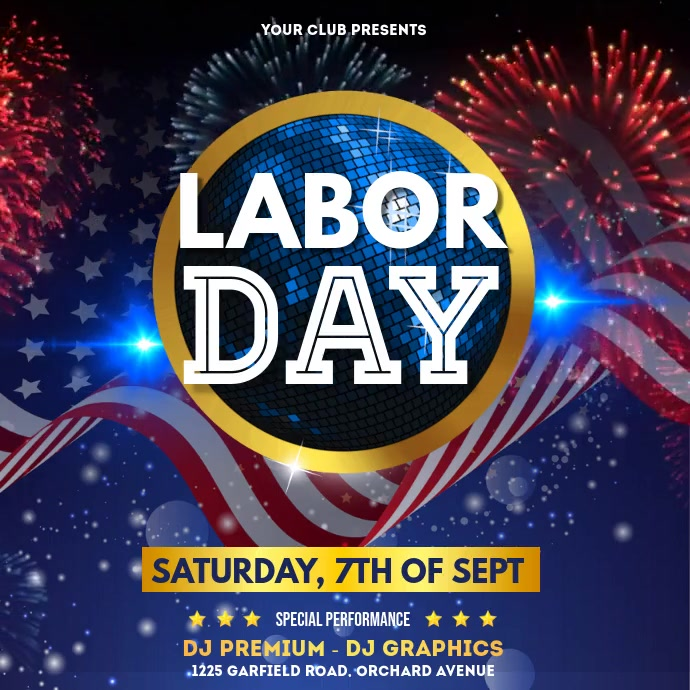 Labor Day, Labor Day Party, Workers Day Pos Instagram template