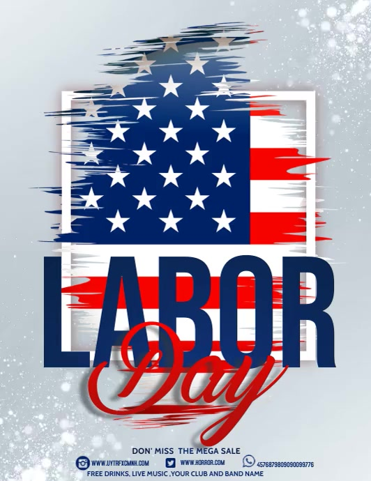 Labor day,Veteran's day,memorial day Flyer (format US Letter) template