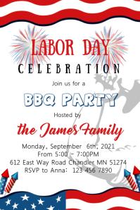 Labor Day BBQ Invitation Plakkaat template