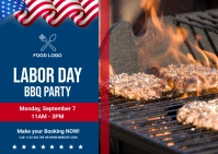 Labor Day BBQ party ไปรษณียบัตร template