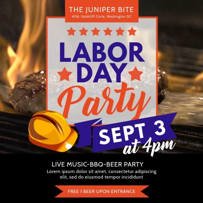 Labor Day BBQ Party Video Invitation Template