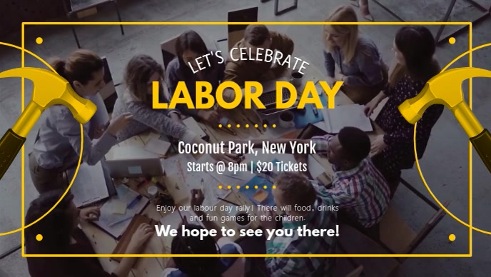 Labor Day Celebration Event Facebook Cover Video Facebook-Covervideo (16:9) template