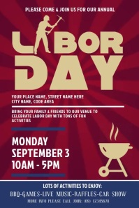 Labor Day Digital Display Video Ad Poster template