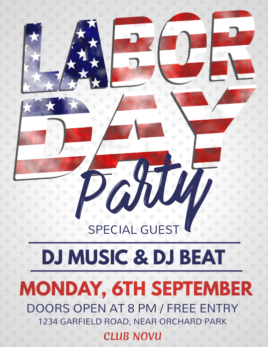 Labor Day Flyer, Worker's Day Løbeseddel (US Letter) template