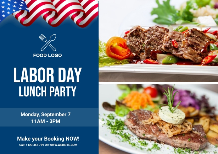 Labor Day Food party Kartu Pos template