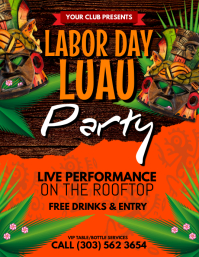 Labor Day Luau Flyer. Luau. Pool Party Poster Flyer Template