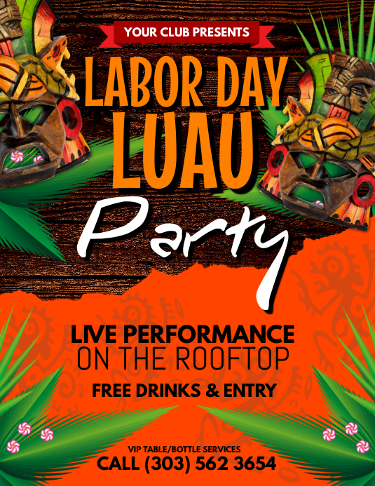 labor day luau flyer template postermywall