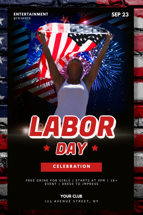Labor Day Night Club Party Flyer Template