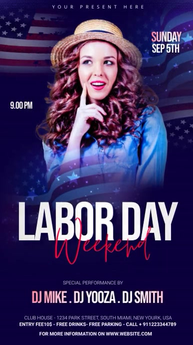 Labor Day Party Template Ecrã digital (9:16)