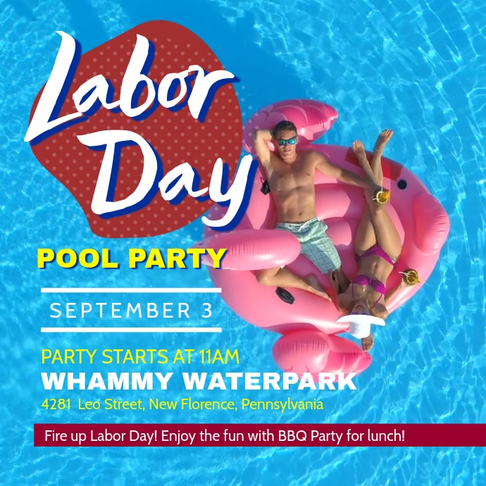 Labor Day Pool Party Video Template Instagram Post