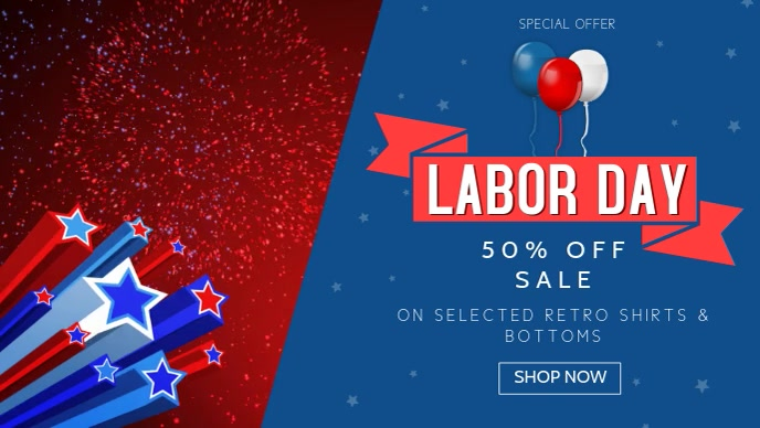 Labor Day Sale Facebook Cover Video Template Postermywall
