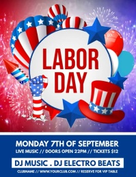labor day video, labor day Flyer (US Letter) template