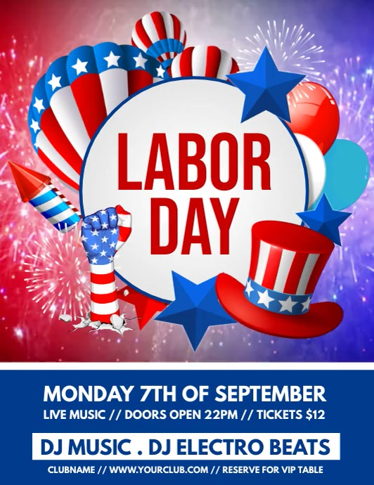 labor day video, labor day Pamflet (VSA Brief) template