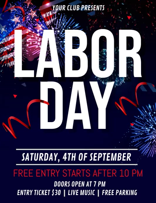Labor Day Video, Worker's Day ใบปลิว (US Letter) template