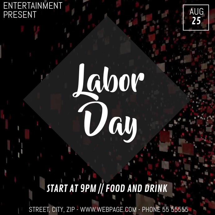 Labor day video flyer template