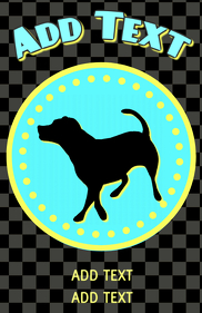 labrador retriver on display in a torquoise yellow dotted sign circle