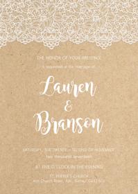 Lace Rustic Kraft Floral wedding invitation