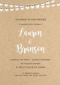 Lace Rustic Kraft Floral wedding invitation A6 template