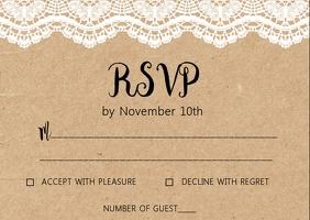 Lace Rustic Kraft wedding RSVP card