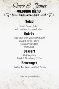 lace wedding menu portrait