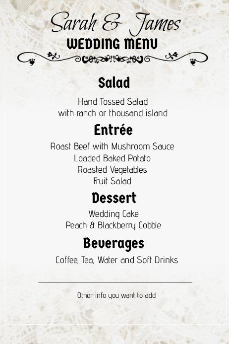 lace wedding menu portrait Poster template