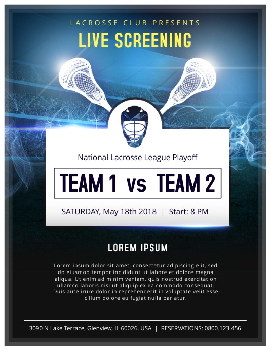 Lacrosse Live Screening Poster Template | PosterMyWall