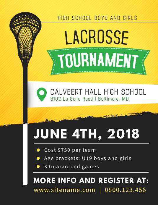 Lacrosse Tournament Poster Template Folheto (US Letter)