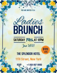 Ladies Brunch Flyer Design Template .