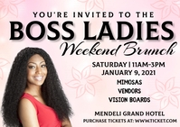 Ladies Brunch Invitation Postcard template