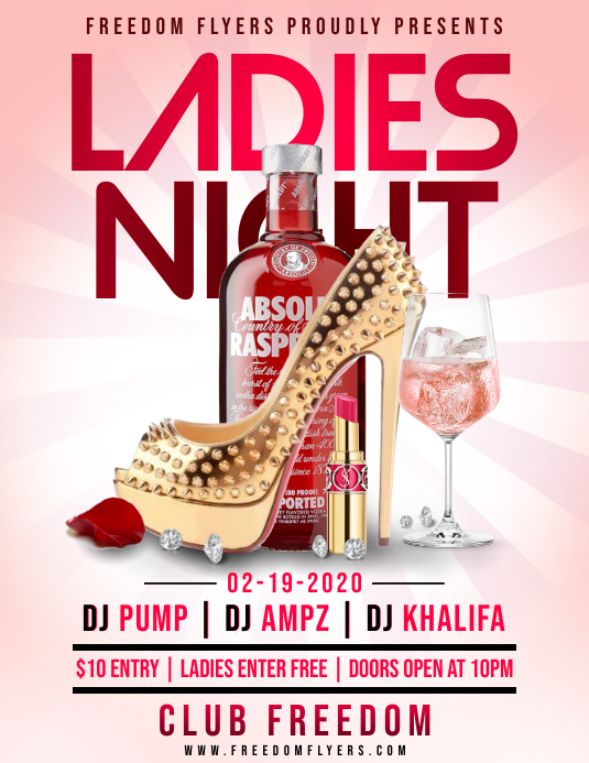 Ladies Night Flyer Løbeseddel (US Letter) template