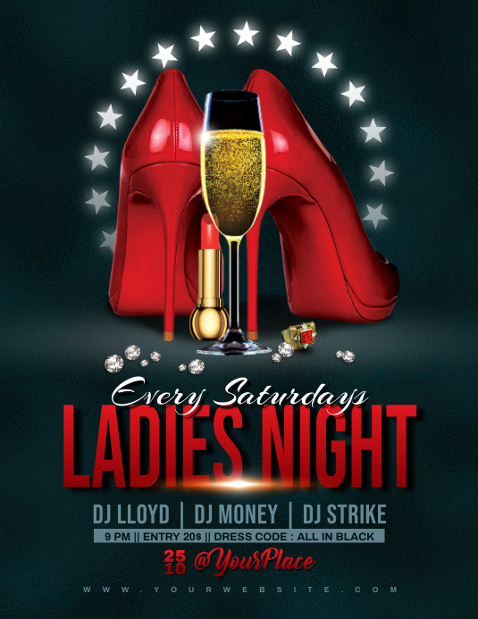 LADIES NIGHT Flyer Template Ulotka (US Letter)