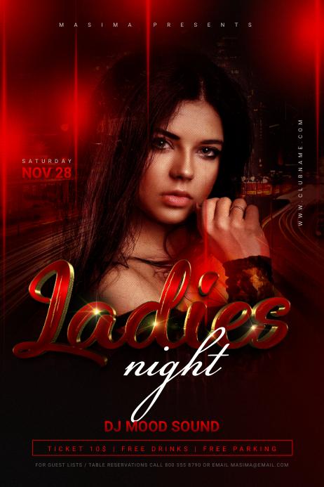 Ladies Night Flyer Template Affiche