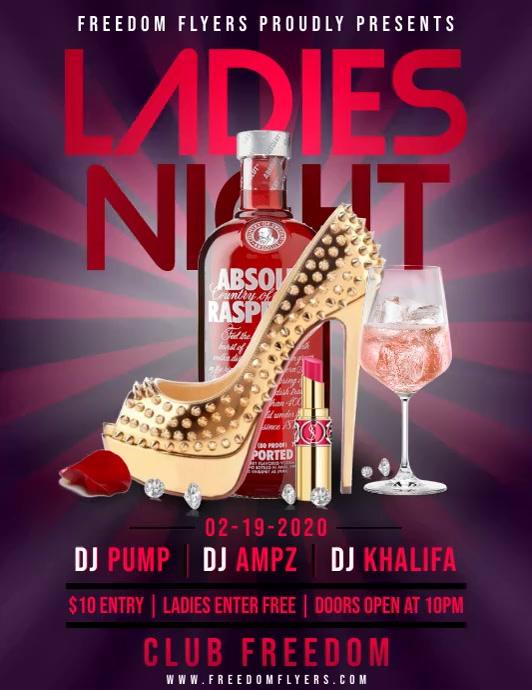 Ladies Night Flyer Template Folheto (US Letter)