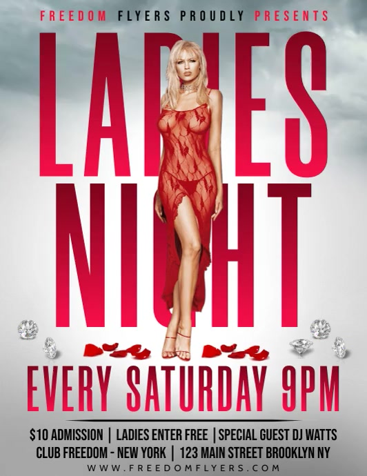 Ladies Night Flyer video Folheto (US Letter) template