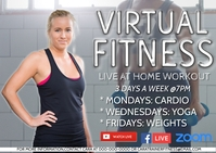 online exercise class virtual workout Postcard template