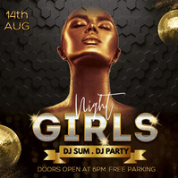 Ladies night out, gold night,party Post Instagram template