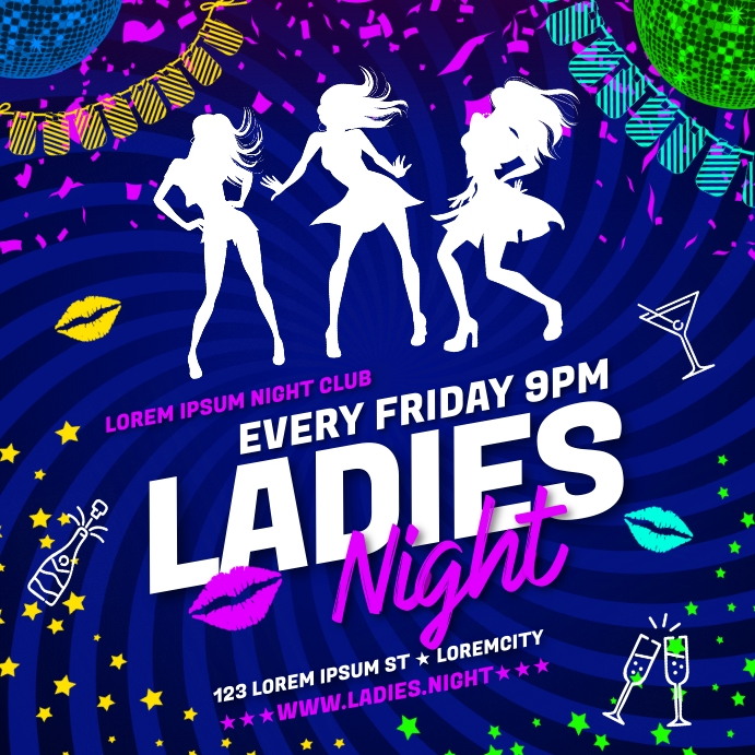 LADIES NIGHT PARTY BANNER Instagram na Post template
