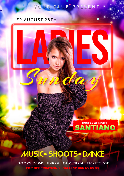 ladies Night Party Flyer Design A4 template