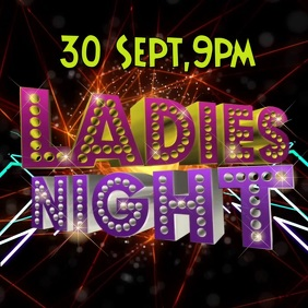 Ladies night video graphic party poster