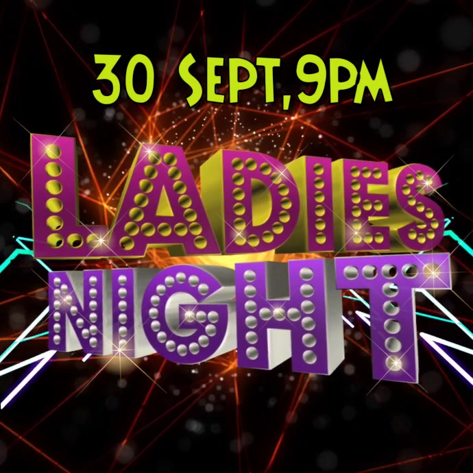 Ladies night video graphic party poster template
