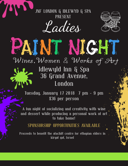 ladies paint night event flyer design template postermywall
