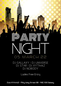 Party Night Poster Flyer City Lights A4 template
