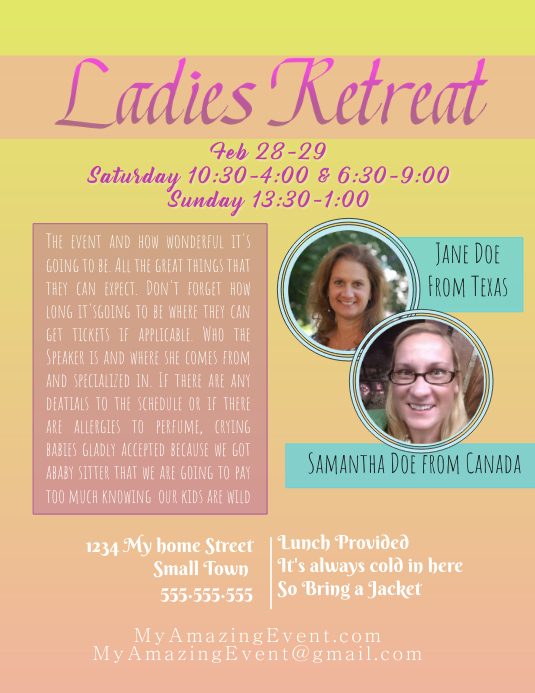 ladies retreat template postermywall