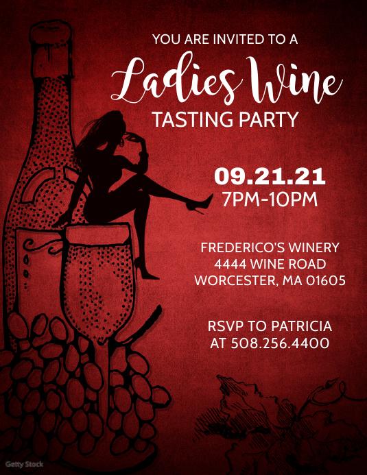 Ladies Wine Tasting Party Flyer template