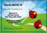 Lady Bug Birthday Invitation A6 template